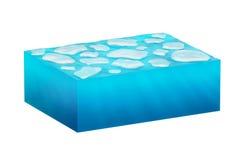 Cubo de gelo isolado da água Imagem de Stock