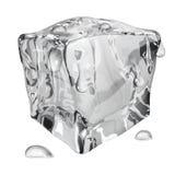 Cubo de gelo opaco com gotas da água ilustração do vetor