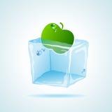 Cubo de hielo de la cereza Fotografía de archivo