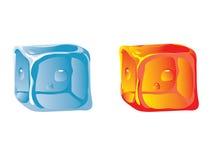 Cubo de hielo del agua y del cubo caliente Fotografía de archivo libre de regalías
