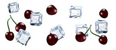Cubo de hielo del vector con la cereza de la baya Imágenes de archivo libres de regalías