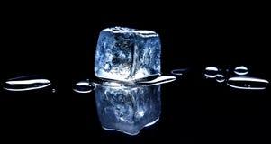 Cubo de hielo en fondo negro Foto de archivo