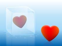 Cubo de hielo frío del corazón Fotos de archivo libres de regalías