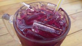Cubo de hielo y zumo de fruta Imágenes de archivo libres de regalías