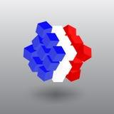 Cubo de la bandera de Francia del transformador Foto de archivo