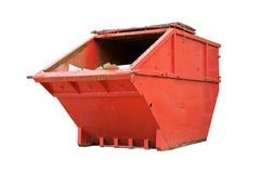 Cubo de la basura industrial rojo Fotografía de archivo libre de regalías