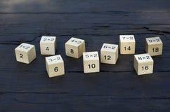 Cubo de la fórmula matemática 1x1 en fondo de madera Imagen de archivo