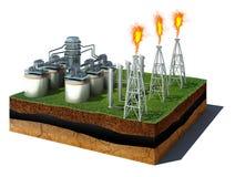 Cubo de la suciedad con la refinería de petróleo aislada en el fondo blanco Imagen de archivo libre de regalías