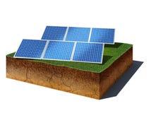 Cubo de la suciedad con los paneles fotovoltaicos aislados en el fondo blanco libre illustration