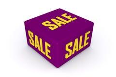 Cubo de la venta 3d en color púrpura con el fondo blanco Imagen de archivo libre de regalías