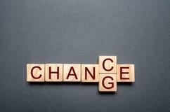 Cubo de madeira com mudança da palavra à possibilidade na tabela de madeira Conceito desenvolvimento e do crescimento ou da mudan imagem de stock