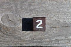Cubo de madeira com o número dois Imagens de Stock Royalty Free