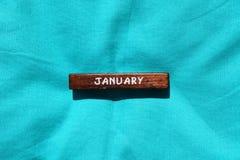 Cubo de madeira com o nome do mês janeiro Fotografia de Stock