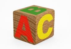Cubo de madera - ABC Fotos de archivo libres de regalías