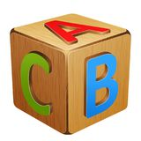 Cubo de madera con las letras A, B, C imagenes de archivo