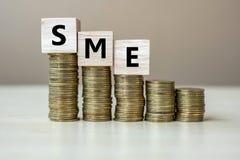 Cubo de madera de la pequeña empresa media de la PME con la moneda de oro en las escaleras crecientes del dinero o la pila en la  imágenes de archivo libres de regalías
