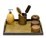 Cubo de madera y producto natural Fotos de archivo libres de regalías