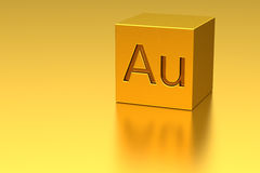Cubo de oro con la marca del Au Fotografía de archivo