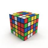 Cubo 5x5 de Rubiks no branco ilustração 3D Fotografia de Stock