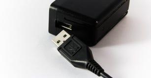 Cubo de USB e cabo de USB Imagens de Stock Royalty Free