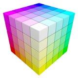Cubo del color del RGB y de CMYK. Imagen de archivo