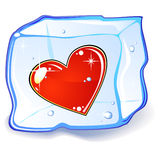 Cubo del corazón y de hielo Fotos de archivo libres de regalías