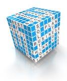 Cubo del crucigrama con las palabras del negocio, 3d stock de ilustración