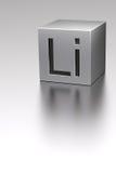 Cubo del litio con la muestra de Li en el avión del litio Imagenes de archivo