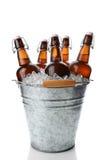 Cubo del partido con las cervezas del top del oscilación Foto de archivo libre de regalías