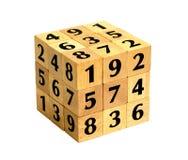 Cubo del rompecabezas del número Fotografía de archivo