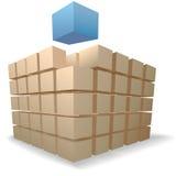 Cubo dell'estratto di puzzle delle caselle di trasporto sulle pile Immagine Stock