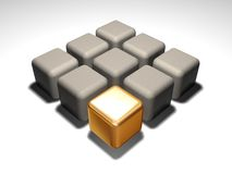 Cubo dell'oro Fotografia Stock