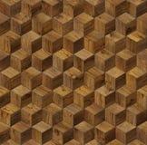 Cubo di legno naturale 3d del fondo Fotografia Stock Libera da Diritti