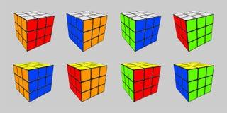 Cubo di Rubik in 8 posizioni royalty illustrazione gratis