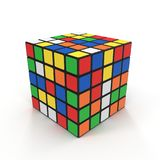 Cubo 5x5 di Rubiks su bianco illustrazione 3D Immagine Stock Libera da Diritti