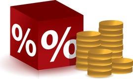 Cubo di sconto con il disegno dell'illustrazione delle monete Immagini Stock