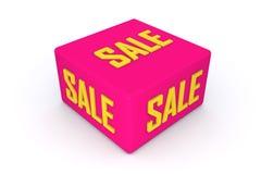 Cubo di vendita 3d nel colore rosa con fondo bianco, illustrazione 3d Fotografia Stock Libera da Diritti