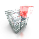Cubo di vetro rosso differente fuori dal gruppo Fotografie Stock Libere da Diritti