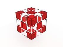 Cubo di vetro solido Fotografie Stock