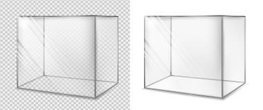 Cubo di vetro trasparente Acquario realistico Vetrina speciale illustrazione di stock