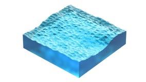 Cubo do Aqua do oceano ou da água do mar ilustração 3D, isolada no fundo branco Fotografia de Stock Royalty Free