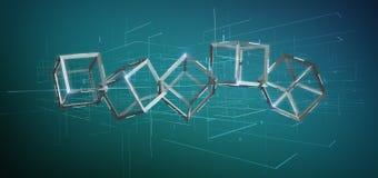 cubo do blockchain da rendição 3d isolado em um fundo Foto de Stock Royalty Free