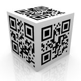 cubo do código do qr 3d Fotografia de Stock
