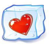 Cubo do coração e de gelo Fotos de Stock Royalty Free