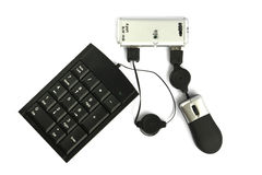 Cubo do USB com teclado e rato Foto de Stock