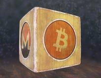 Cubo do vintage com a imagem do cryptocurrency Imagens de Stock Royalty Free