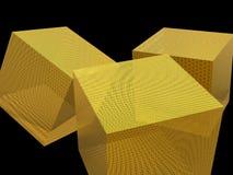 Cubo dorato su fondo nero Fotografie Stock
