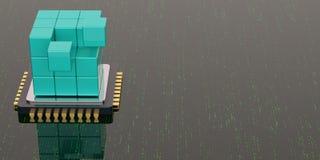 Cubo e processador central azuis no fundo digital ilustra??o 3D ilustração royalty free