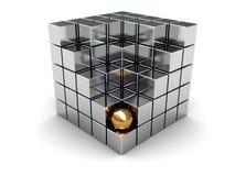 Cubo e sfera dorata Immagini Stock Libere da Diritti