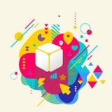 Cubo en fondo manchado colorido abstracto con diverso elem Imagenes de archivo